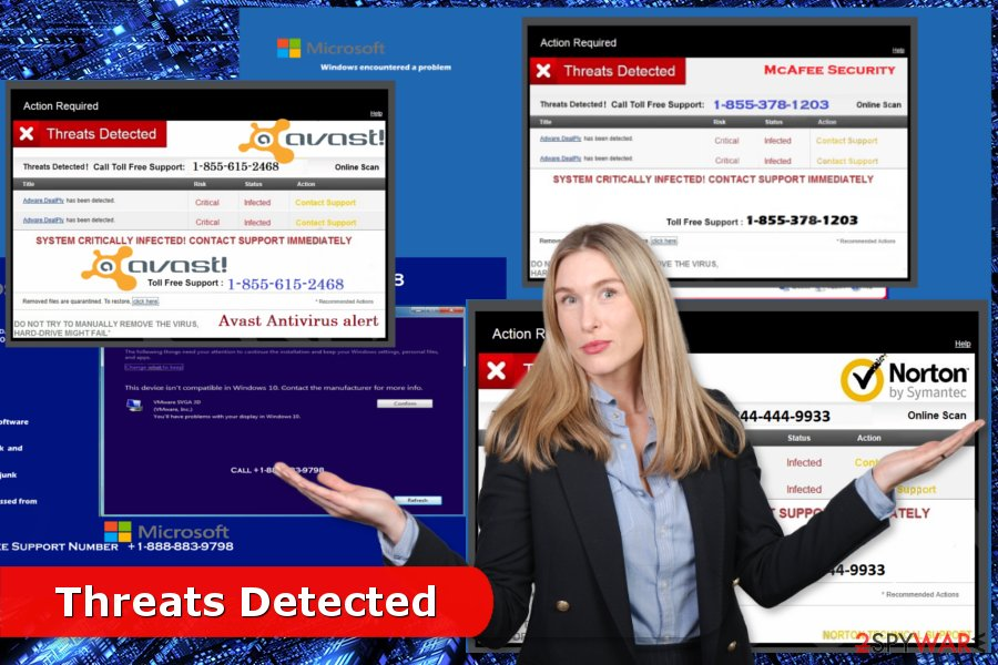 "Examples of ""Threats Detected"" scams"