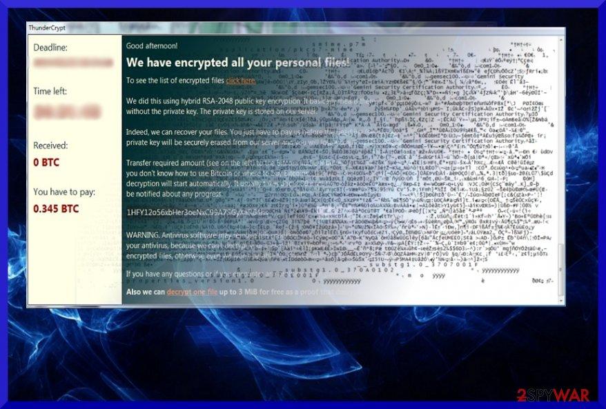 The picture illustrating ThunderCrypt virus