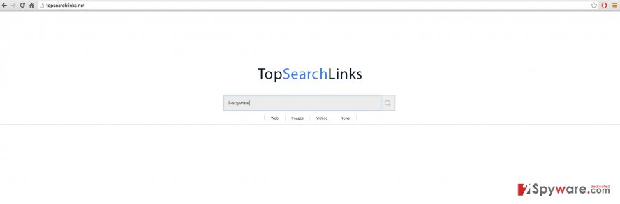 The screenshot of TopSearchLinks.net browser hijacker