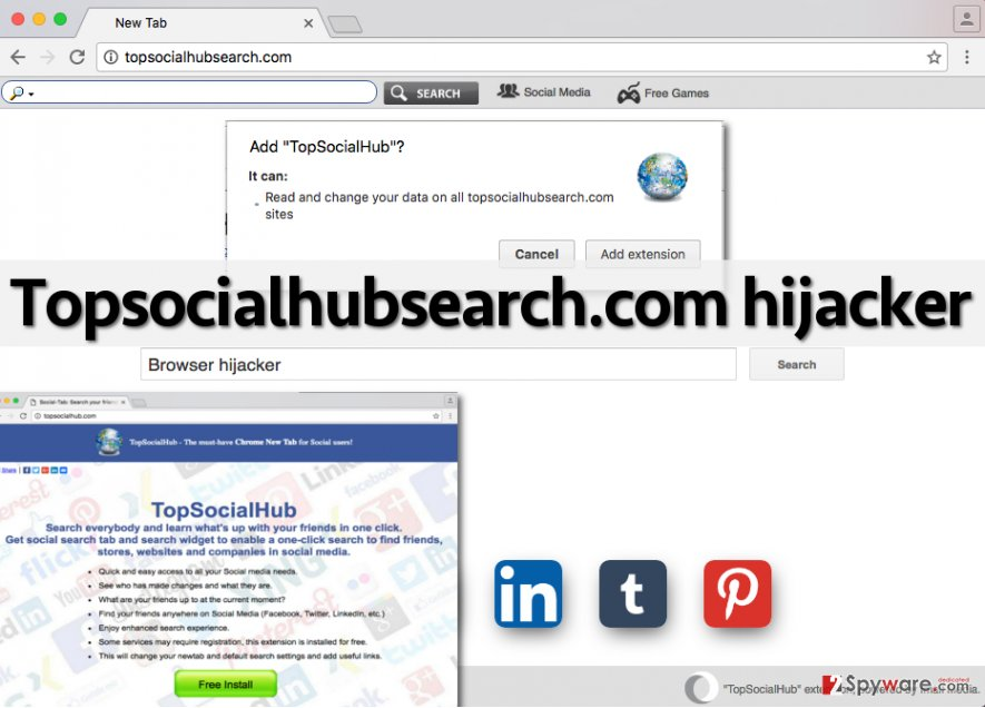 Image showing Topsocialhubsearch.com hijacker