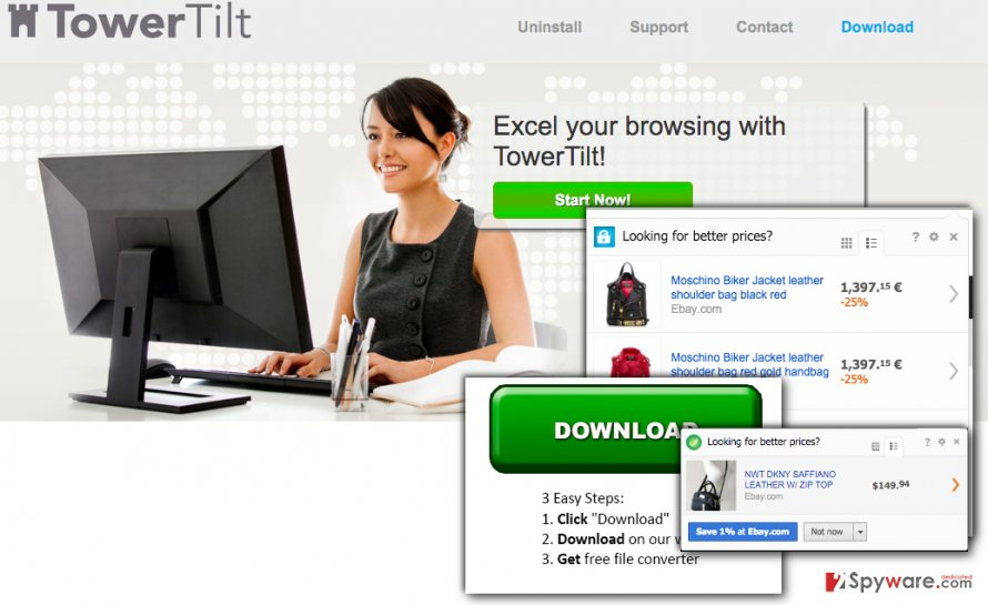 TowerTilt virus web page and example of ads