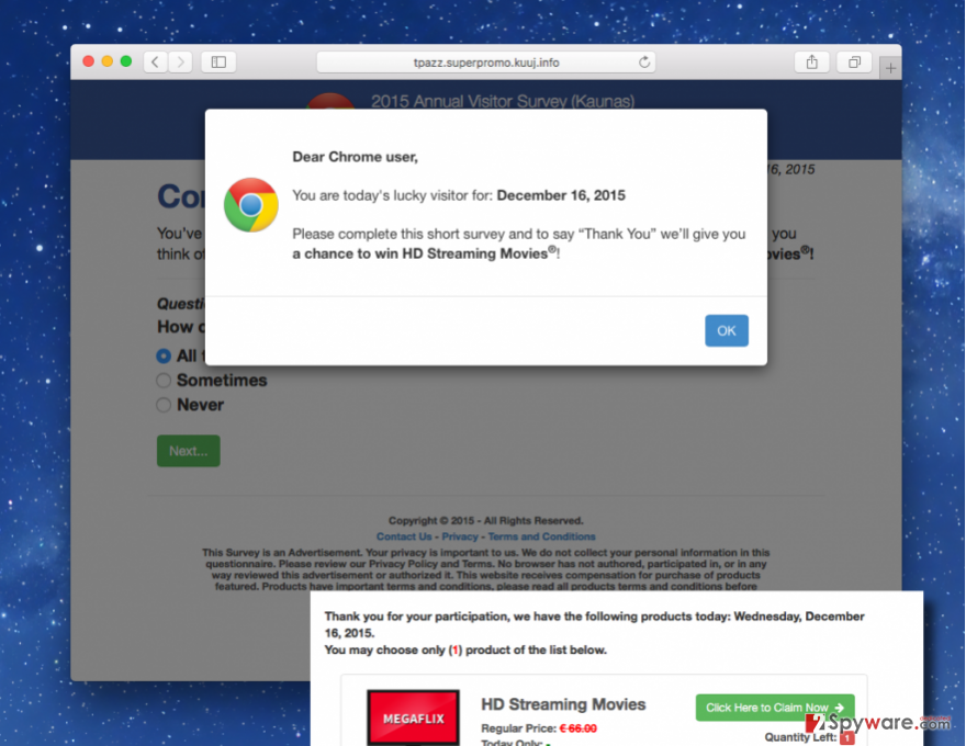 Tpazz.superpromo.kuuj.info adware pop-up asking to fill a survey