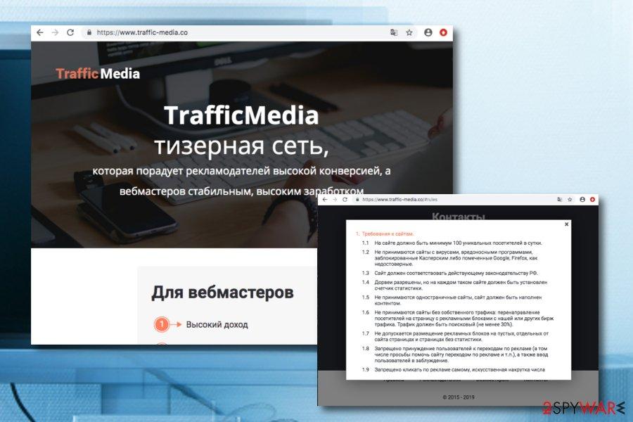 Traffic Media pop-up ads