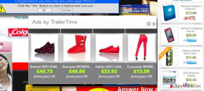 TrailerTime adware displaying ads by TrailerTime