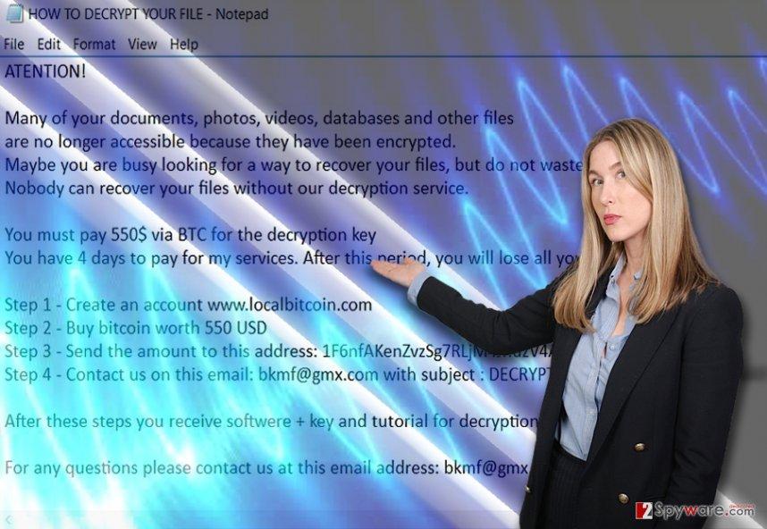 The screenshot of TraNs ransomware