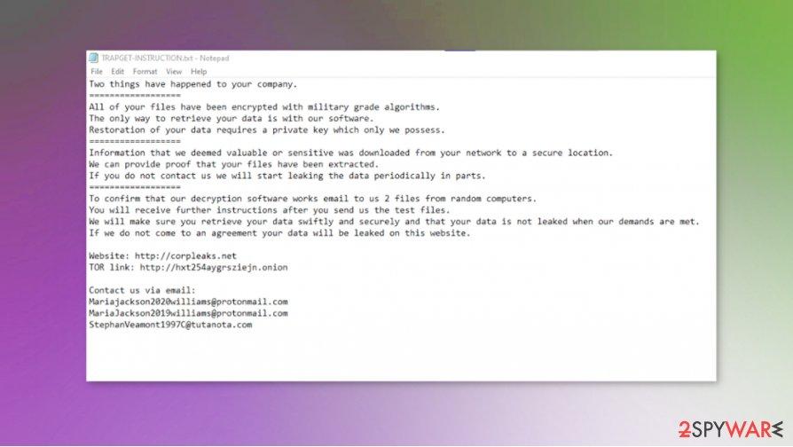 TRAPGET files virus