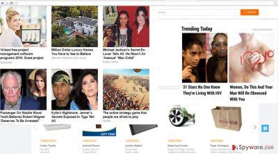 The image revealing Trending Articles virus