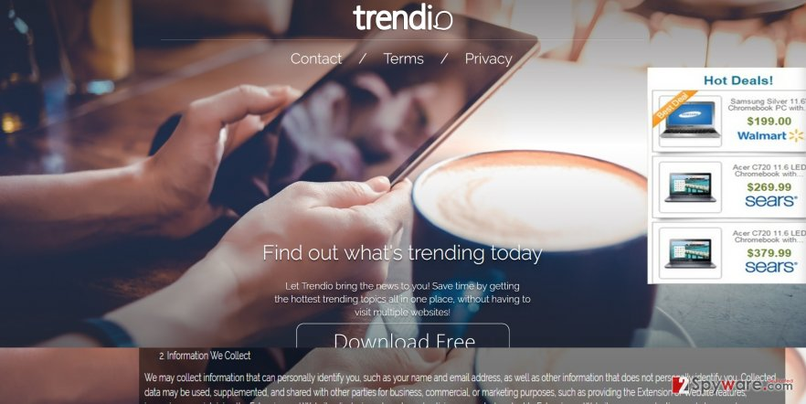 The picture revealing Trendio ads