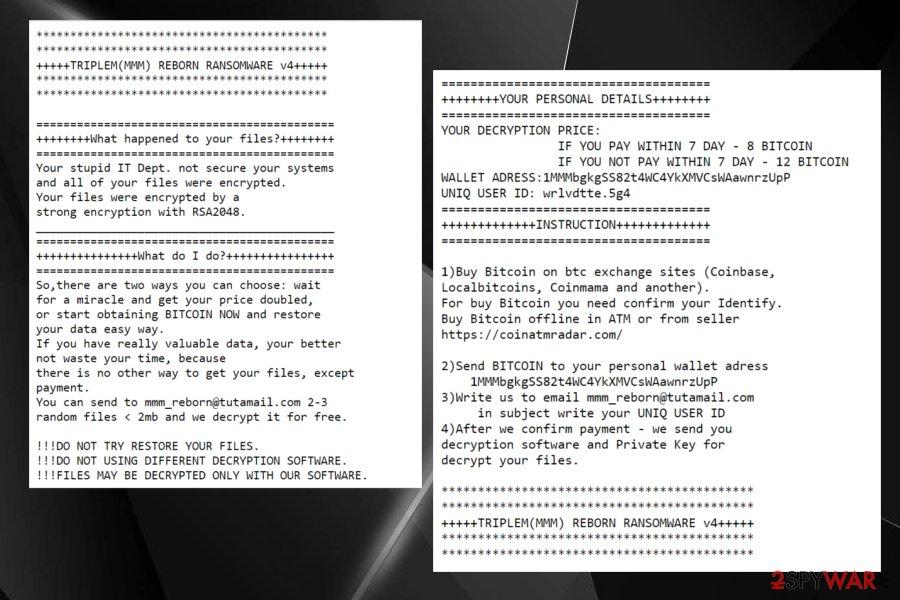 TripleM reborn ransomware
