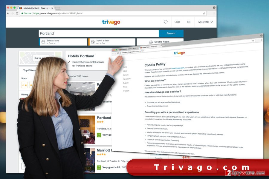 The illustration of Trivago.com
