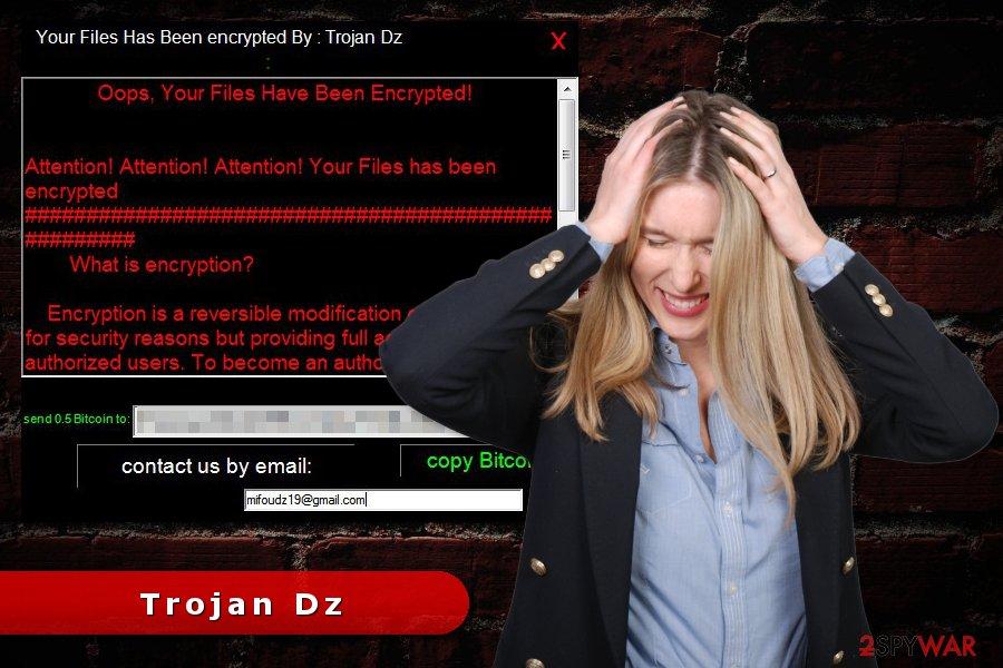 Trojan Dz ransomware virus attack
