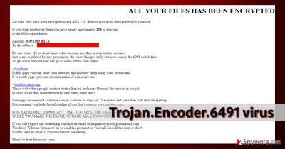 The ransom note by Trojan.Encoder.6491 virus