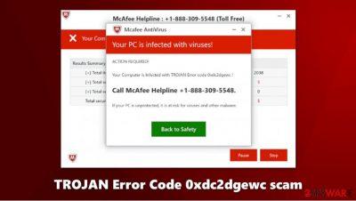 TROJAN Error Code 0xdc2dgewc scam