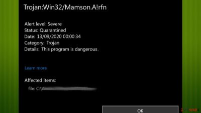 Trojan:Win32/Mamson!MSR