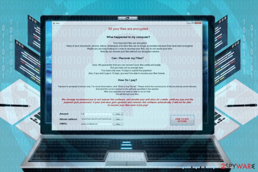 Tron ransomware virus illustration