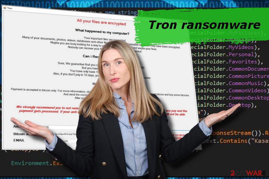 Tron ransomware printscreen