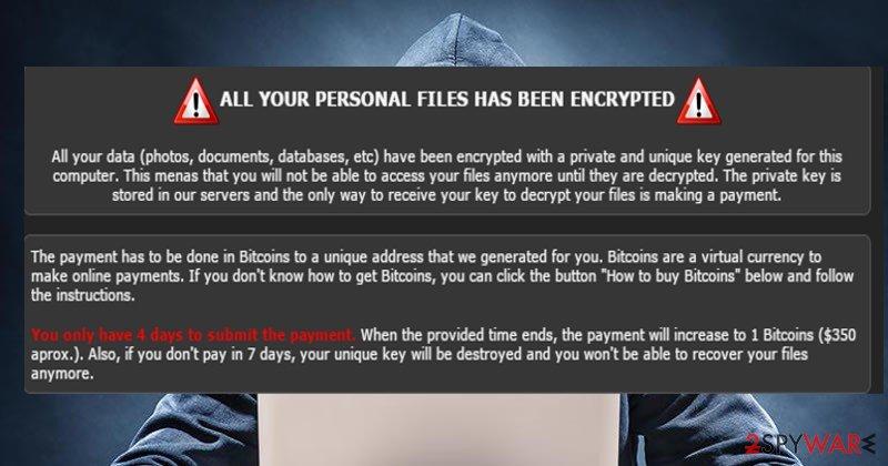 The screenshot of TrueCrypter virus