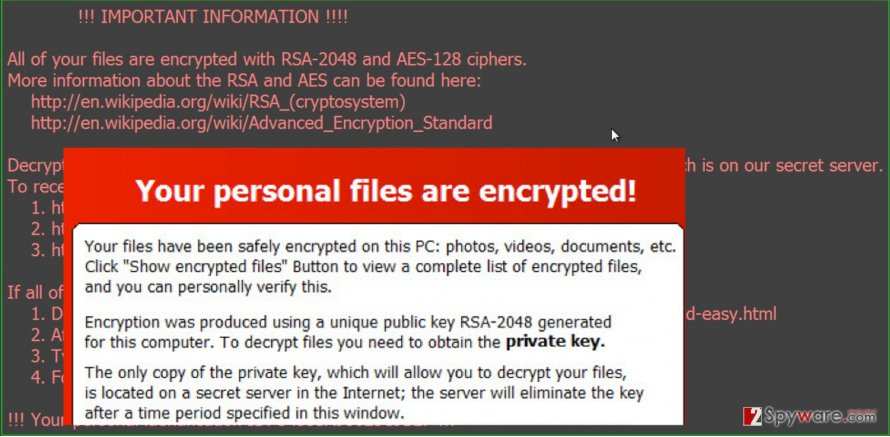 The note of TrueCrypt ransomware