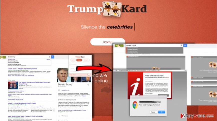 TrumpKard adware blocks certain content, but displays ads