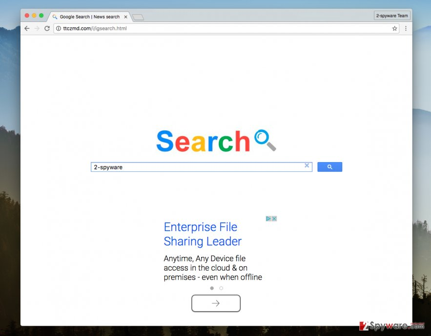 A screenshot of the Ttczmd.com browser hijacker virus