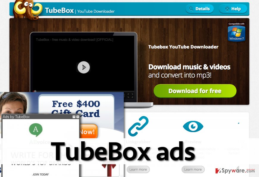 TubeBox ads on screen