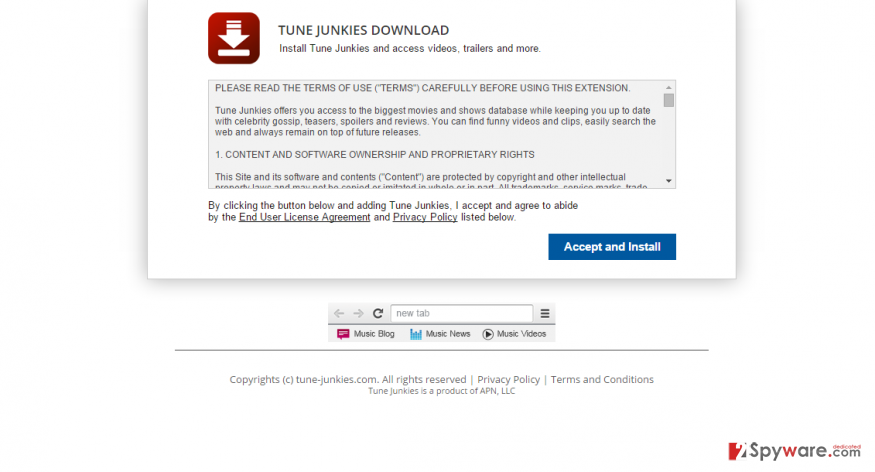 TuneJunkies New Tab