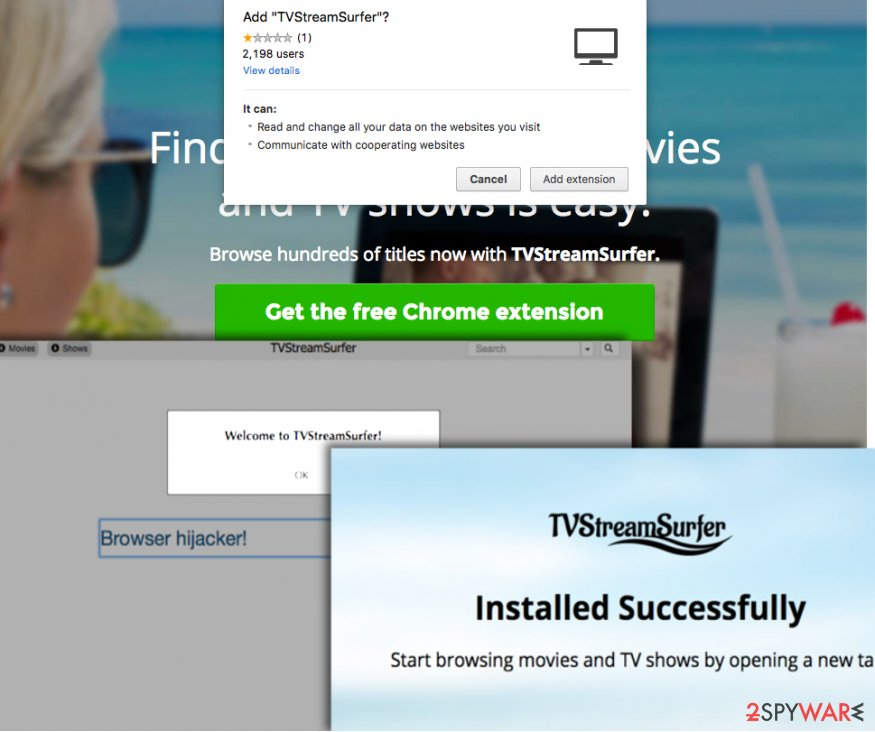 TvStreamSurfer virus official website offers a dubious Chrome add-on