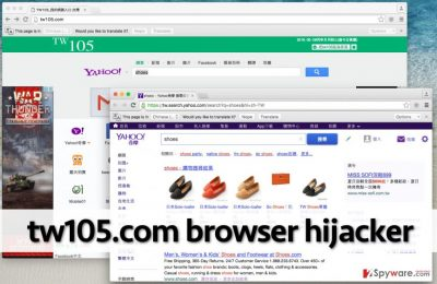 Screenshot of homepage that was set by Tw105.com browser hijacker