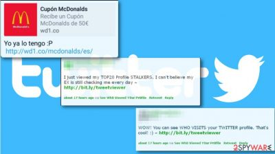 Phony messages that Twitter virus posts via infected accounts