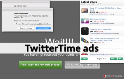 TwitterTime adware shows many annoying advertisements