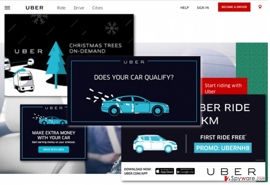 Illustration of Uber ads
