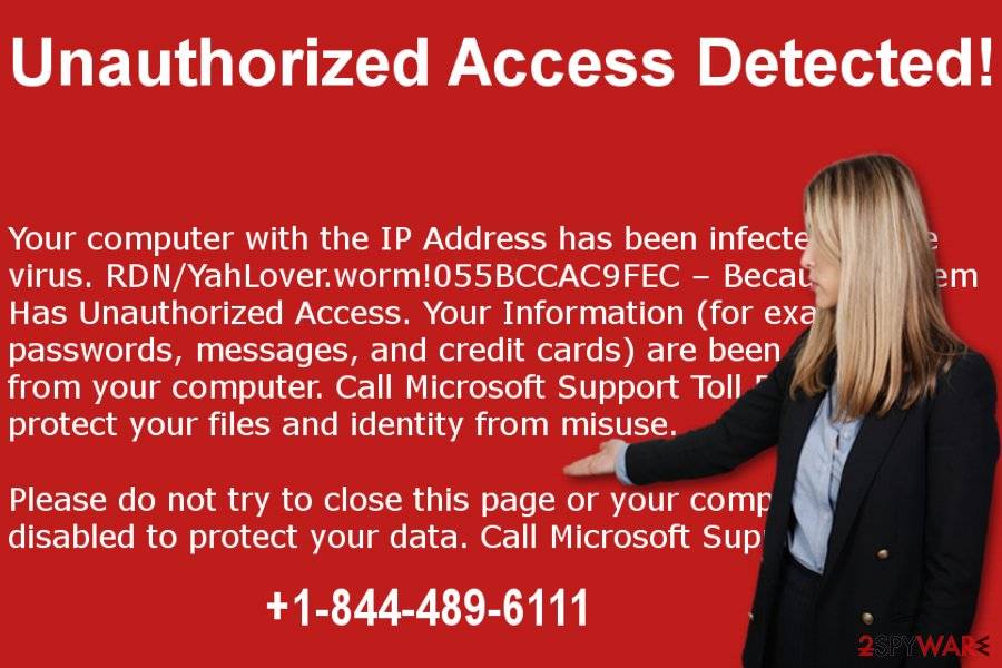"The picture showing ""Unauthorized Access Detected"" scam"