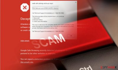 """The image displaying """"Unauthorized Access Detected"""" scam"""