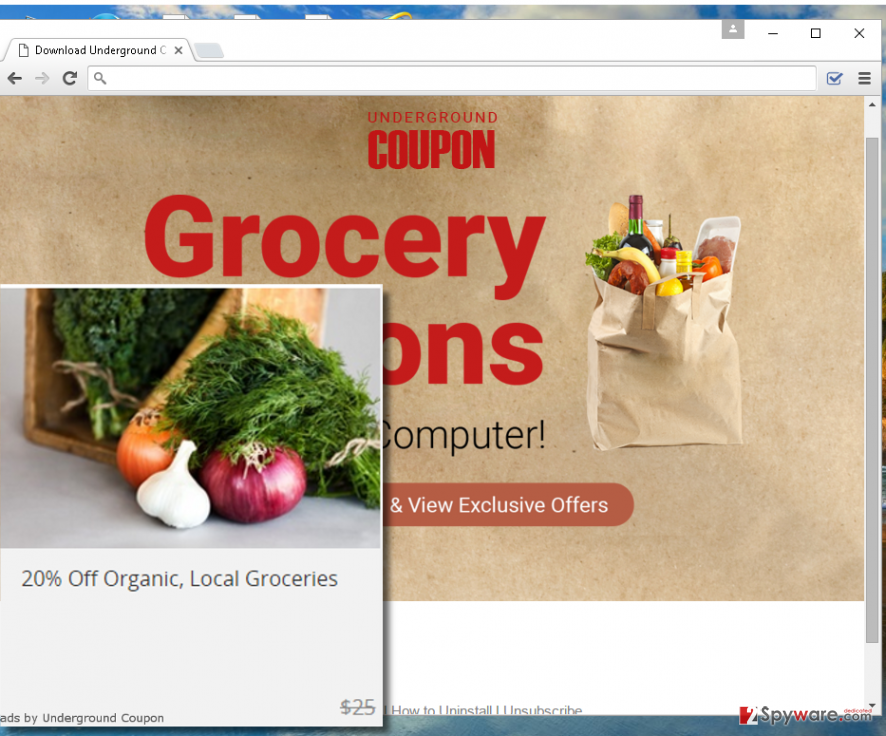 Underground Coupon adware page screenshot