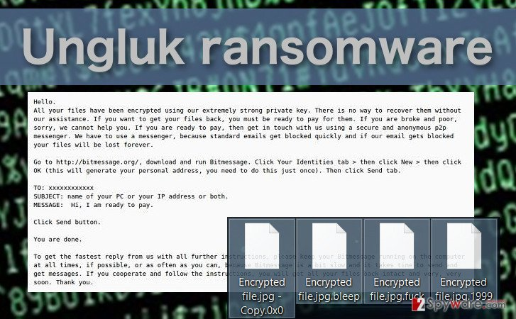 Picture of the Ungluk ransomware