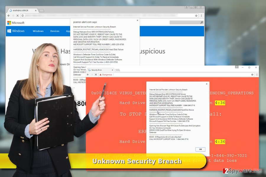 "The examples of ""Unknown Security Breach"" virus"