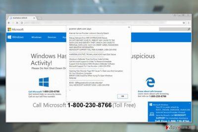 "Screenshot of ""Unknown Security Breach"" pop-up virus"