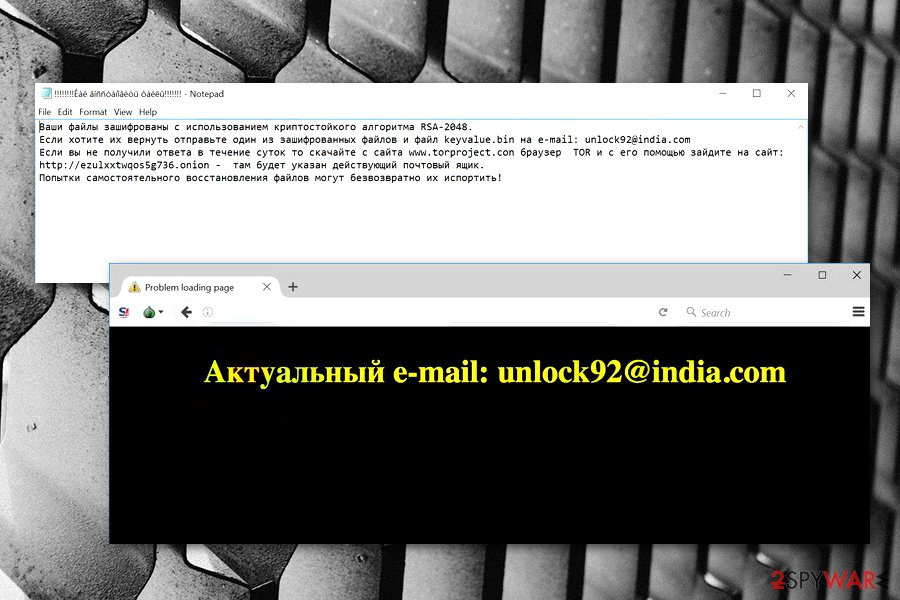 Unlock92 ransomware virus picture