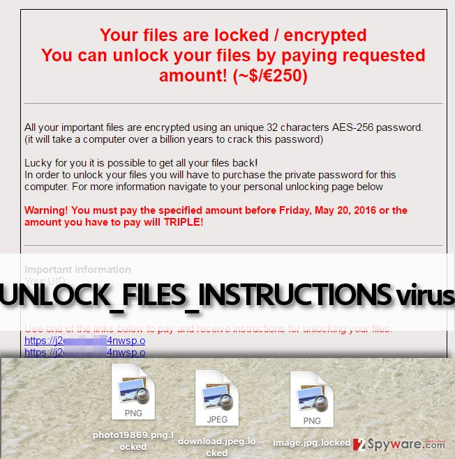 UNLOCK_FILES_INSTRUCTIONS malware displays a frightening ransom note