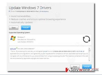 """Update Windows 7 Drivers"" popup ads snapshot"