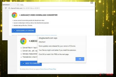 Updates were released for your version of Chrome scam