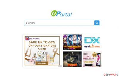 A screenshot of the Uportal browser hijacker virus