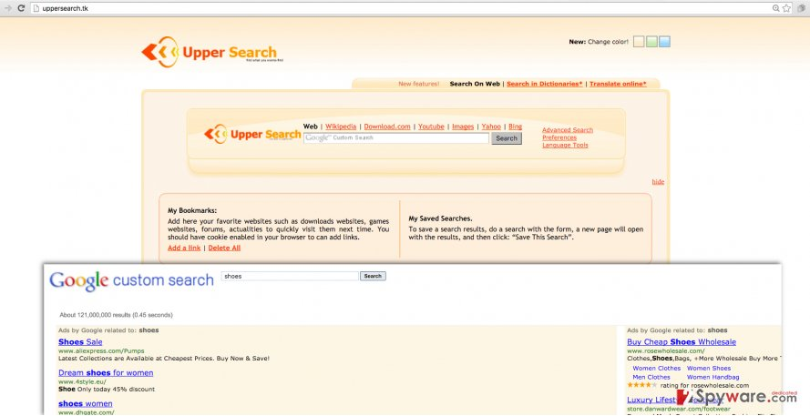 Uppersearch.tk browser hijacker
