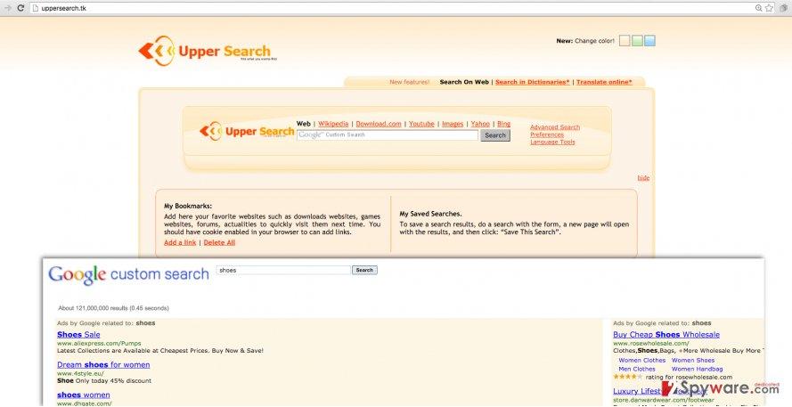 Uppersearch.tk browser hijacker