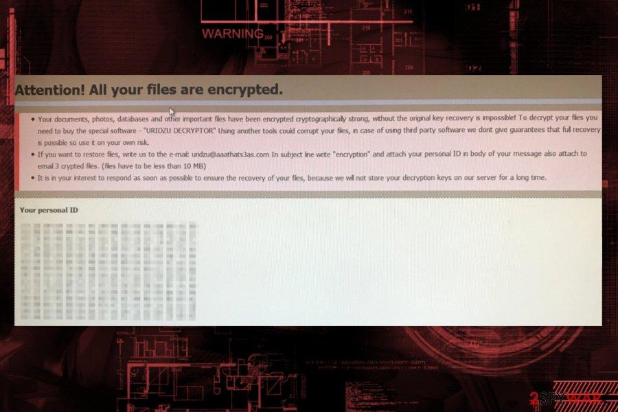 Uridzu ransomware ransom note