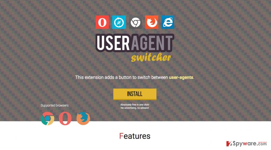 A screenshot of the User-Agent Switcher adware