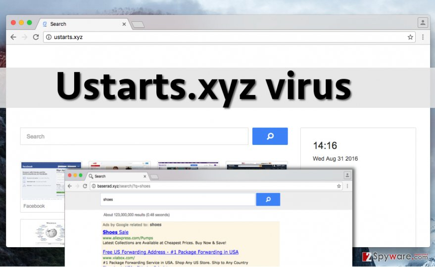 Ustarts.xyz redirect virus changes homepage address without user's knowledge