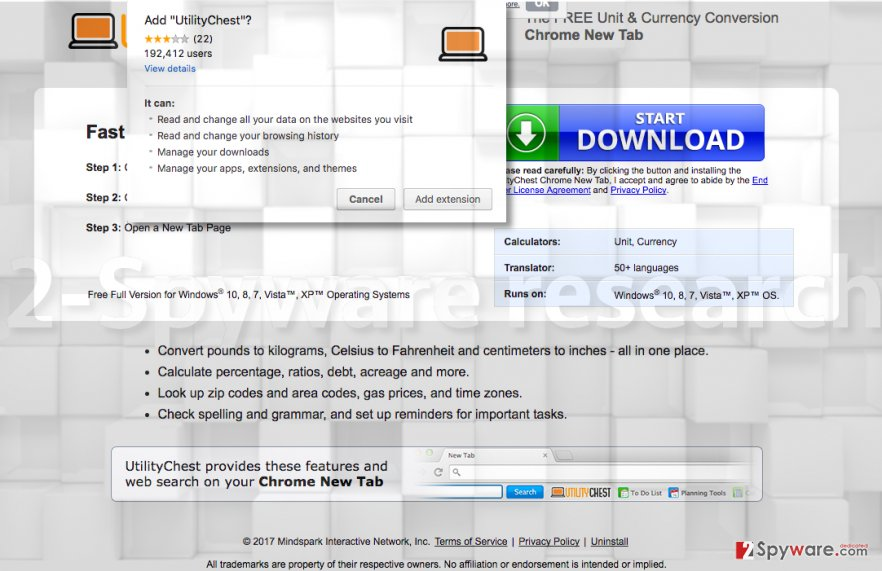 Picture showing UtilityChest Toolbar installation page