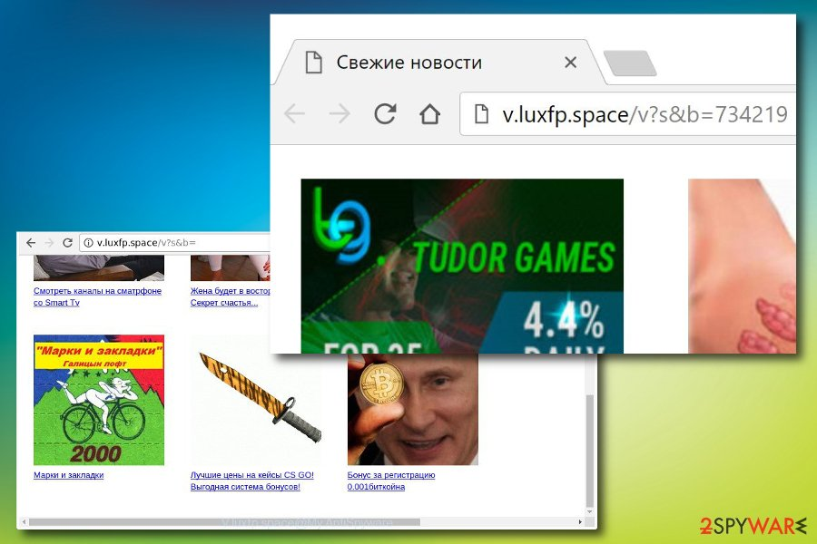 Screenshot of V.luxfp.space virus