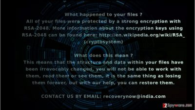 The ransom note of V8Locker virus